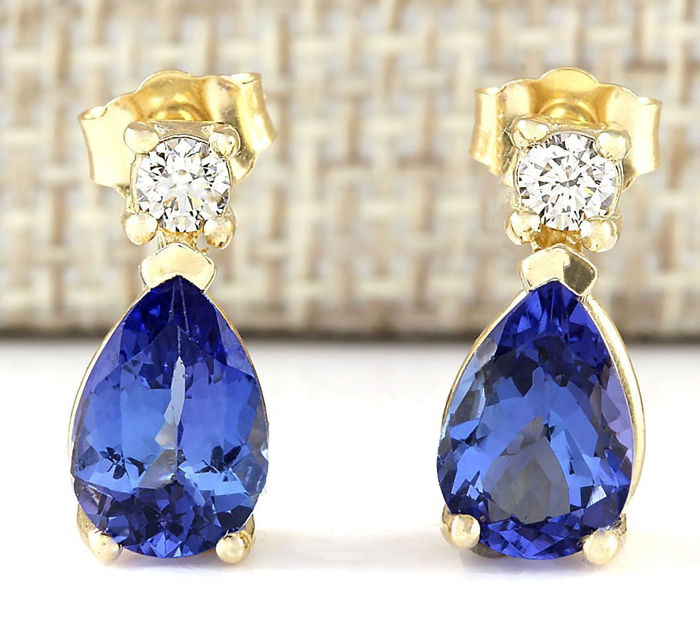 Certified 3.40 Carat Natural Tanzanite and Diamond Earrings In 14K Solid Yellow Gold *** FREE SHIPPING *** NO RESERVE ***