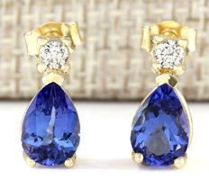3.40 Carat Natural Tanzanite and Diamond Earrings In 14K Solid Yellow Gold *** FREE SHIPPING *** NO RESERVE ***