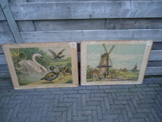 "Two old school posters by Lummel: 'Corn mill"" and ""duck and Swan'"