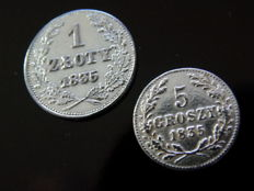 Poland - 1 zloty (silver coin) & 5 groszy 1835 - Free City of Krakow - silver