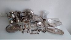 Large collection of over 30 silver plated objects.