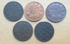 Portugal – Complete series XX Reis – 1882 to 1886 – D. Luis I – Consignment of 5 coins