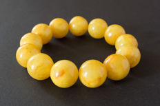 Baltic Amber bracelet egg yolk honey colour, 40.86 gr.