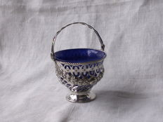 Silver sugar basket, London 1775 and silver salt shaker Sheffield 1836