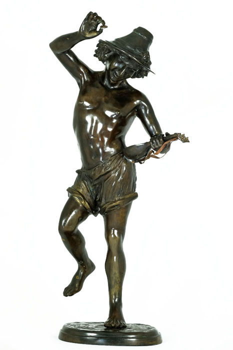 After Albert-Ernest Carrier-Belleuse (1824-1887) - Large bronze sculpture titled 'Danseur à la Mandoline' - France - ca. 1920