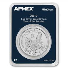 2 Pounds - British Royal Mint - Year of the Rooster - 1 oz 999 Silber Silbermünzen - MintDirect geprüfte Qualität -  Mit Zertifikat