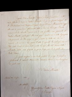 Letter with signature of Francesco IV, Duke of Modena - 1821