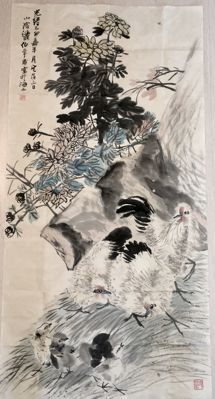 Hand- painted  ink painting made after Ren Bonian 任伯年 -  China - late 20th century