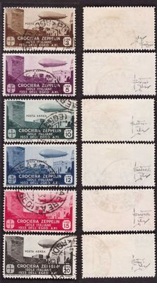 Italian Colonies, 1933 - Aegeus, Zeppelin Air Series, 1933 - Sassone Nos. 22/27