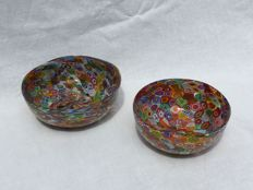 "Attr. to Livio Campanella (Campanella Glassworks) - Two Bowls ""Millefiori"" with gold leaf"
