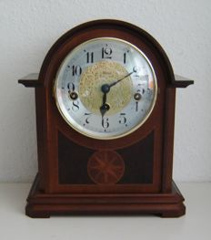 Wooden table clock with Westminter striking mechanism, made by Hermle - mid 20th century
