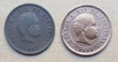 Portugal – Key Dates – 5 Réis 1897 & 1901 – D. Carlos I
