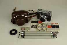 Zeis Ikon Contessamat SE body + Prontor-matic 50mm (1965)  + Lenses, storage pouch and tripod