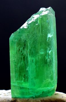 Complete & Undamaged Lush Green Kunzite Hiddenite Crystal with Dog Tooth Terminations - 53*28*19 mm - 60g