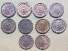 Portuguese Republic – Large lot of 10 copies – 5 Centavos 1924
