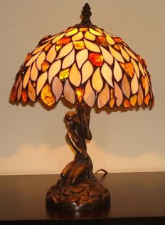 Handmade Amber lamp with certificate,  38 cm height, 2500 g