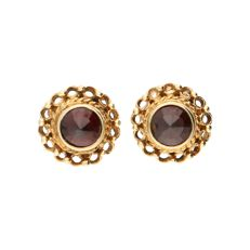 14 kt - Yellow gold earrings each set with a rose cut glass garnet - Diameter: 9.5 mm