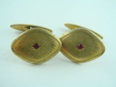 Jugendstil cufflinks EUREKA Double with rubies around 1900