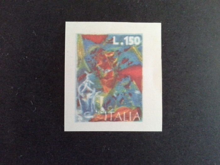 Italy, Republic 1976 – Boccioni, Lire 150, polychrome with missing black ink print and without perforation – Sass. No. 1337