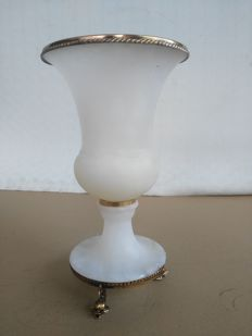 Antique alabaster and bronze vase with bronze trimming - Italy - 20th century