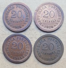 Portuguese Republic – Double Pair – 4 coins – 20 Centavos 1924 & 1925 . Top Condition