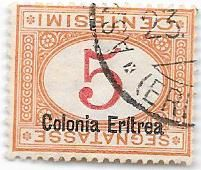 Eritrea 1920 – Postage Due 5 cents orange and carmine, with overprint and upside down figure – Sass.  No. 14a