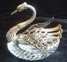 Crystal bowl with silver swan mounting, second half of the 20th century