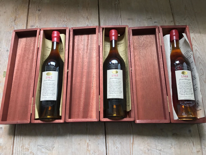 Pierre Ferrand Grande Champagne Cognac Selection 1962, 1965 & 1968 with certifcates in original wooden case