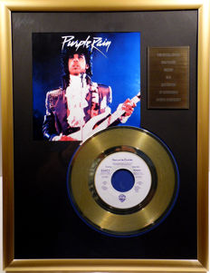 """Prince - Purple Rain - 7"""" Single Warner Bros. Records golden plated record Special Gold Edition"""
