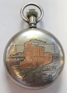 Omega pocket watch with a gold Inlaid Train on the case - Switzerland - 1900s