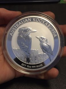 Australia - Perth Mint - 10 dollar - silver 2017 - uncirculated - 10 oz 999 silver coin, Kookaburra