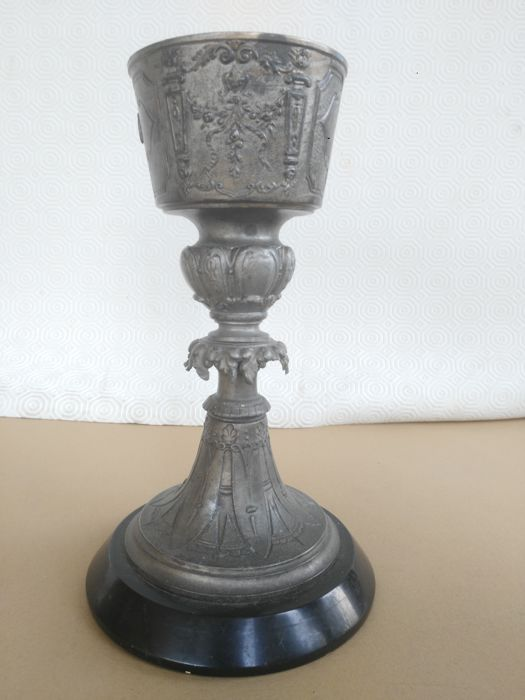 Silvered bronze chalice with black marble base - Italy - late 1800s