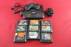 Sega Mega Drive II console with 9 games eg Shadow of the Beast Streets of rage, The Simpsons and more