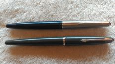 Parker 45 Classic blue pens - permanent ink and Parker 45 Arrow grey - silver trim - permanent ink - vintage