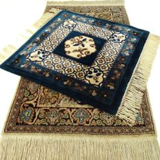 """A China and a Kashmir carpet - 64 x 61 and 99 x 59 cm - """"Duo of oriental carpets in beautiful condition"""" - With certificate."""