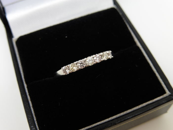 18k White Gold Light Pink Diamond Eternity Ring - 0.70ct - size 54