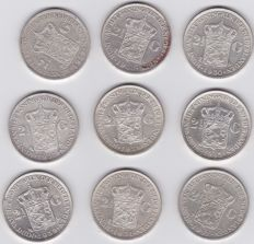 The Netherlands - 2½ guilder coins 1929/1943, Wilhelmina (9 pieces) - silver