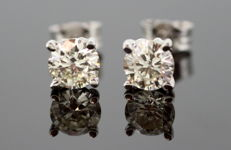 Ladies 18K white gold stud earrings with diamonds ( 1.50 CT Total )