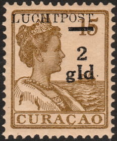 Curaçao 1929 – Airmail stamp with overprint flaw – NVPH LP3f