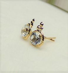 14 kt earrings with 1 kt white topaz, diameter 0.5 cm