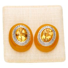 Earrings - 14 kt white gold, Coloured Jade set with Citrine and Diamond 0.04 ct.