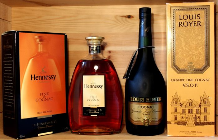 "2 bottles: 1. Hennessy Fine de Cognac, ""Qualite Rare"", old presentation box + 2. Louis Royer Grand fine Cognac, V.S.O.P., from 1980s"