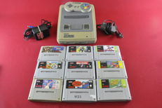 Super Nintendo SNES Console 9 games eg Donky Kong Country 2, Asterix and Obelix and more