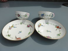 Meissen - 2 cups & saucers Marcolini period 1774 - 1817