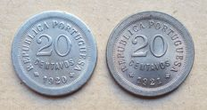Portuguese Republic – 2 coins – 20 Centavos 1920 & 1921 . Top Condition