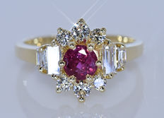1.83 ct Ruby and Diamonds, king ring - No reserve price!