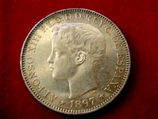 Spain – Alfonso XIII, 1 silver peso, the Philippine Islands, 1897, SG-V