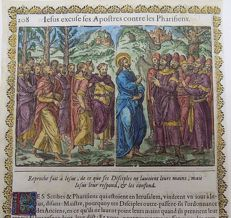 2 prints a attributed to Jean Le Clerc (1587/88-1633) - Christ and Apostles & Repent of Perish - 2 handcoloured woodcuts on folio leaf - 1614