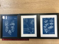 Assorted - 3 blueprint patent application LEGO mini figure in frame. Reproduction engraving in blue plastic.