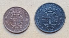 Mozambique / Republic – 2 coins – 10 Centavos 1942 & 20 Centavos 1941 . Above Average